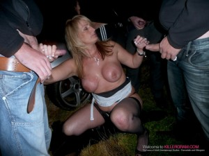 Horny wife wanking a group of men
