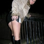 Kinky slut dogging on a public foot path