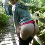 Naughty slut flashing & sucking her boyfriends cock