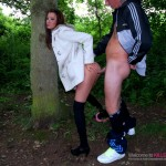 Young slut caught fucking in the woods
